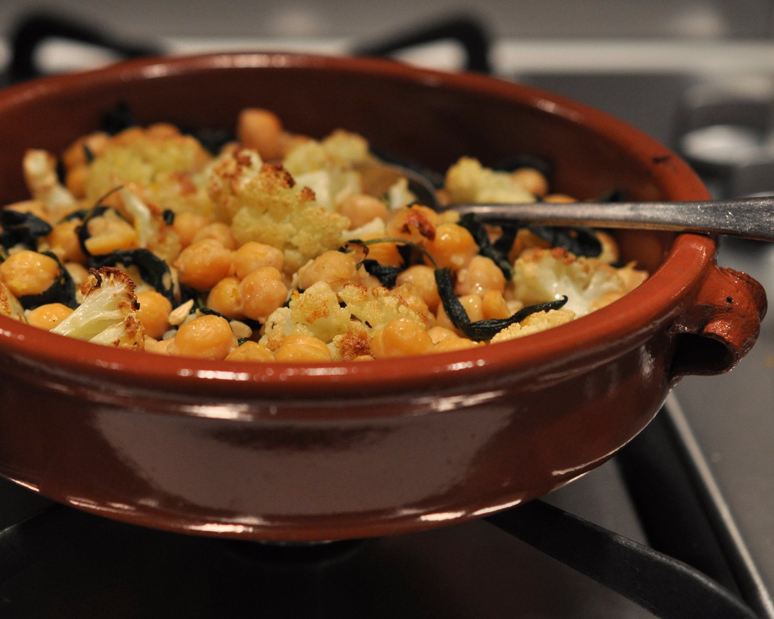 Roasted cauliflower with sage butter chickpeas