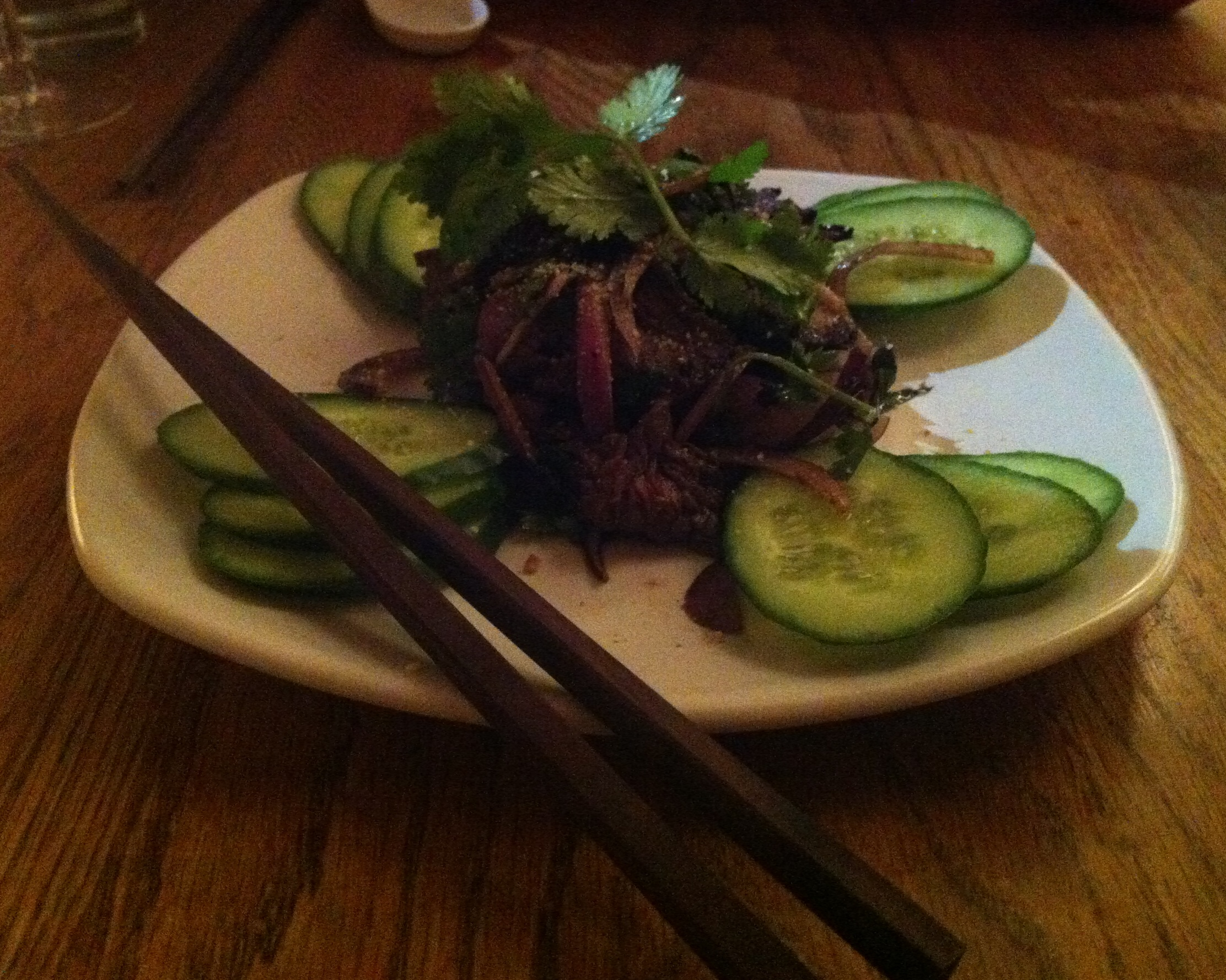 So long ago... photo is not labeled so guessing a Vietnamese beef salad...