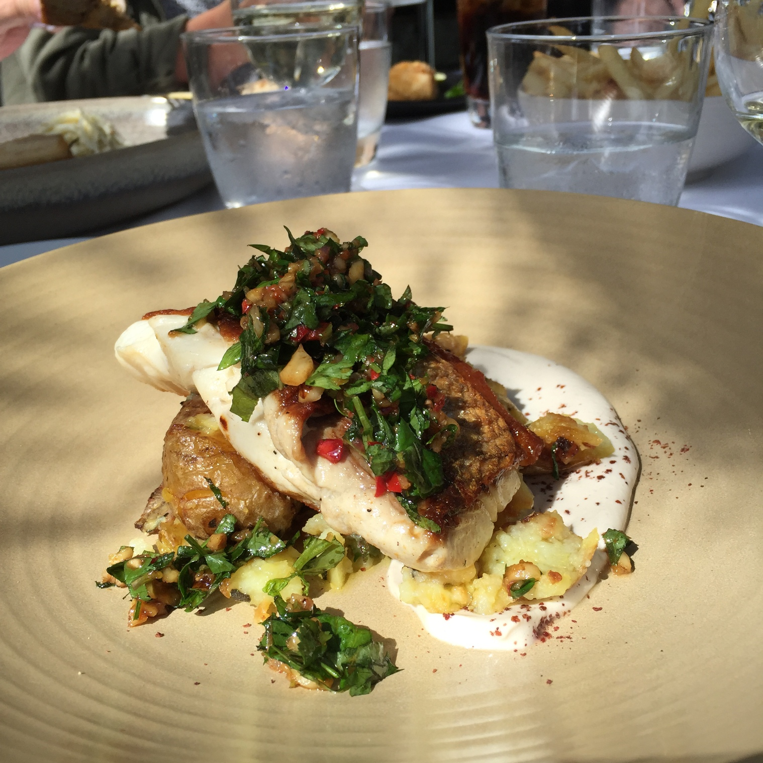 Grilled snapper -  sage crushed potatoes, coriander and walnut vinaigrette, tahini yoghurt