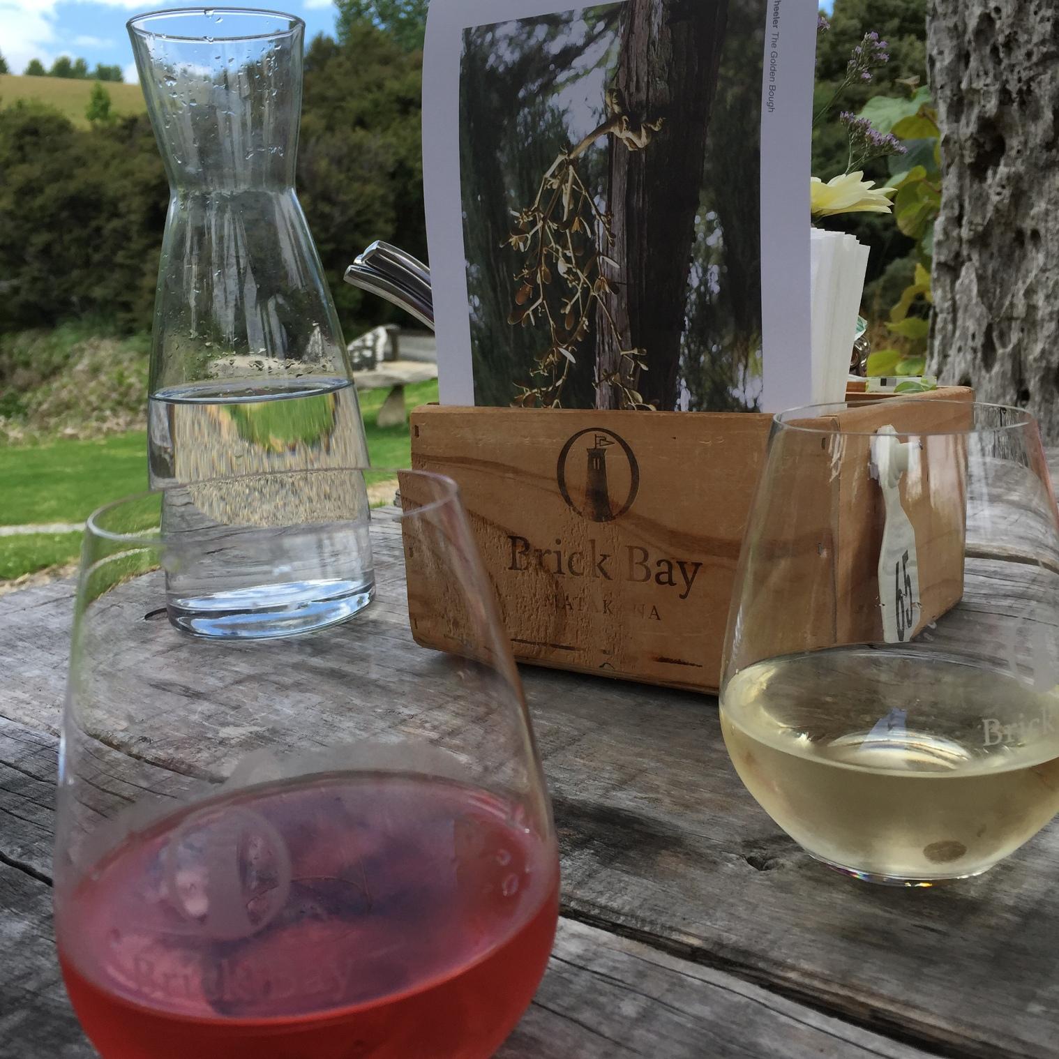 Dine al fresco and indulge in a glass of Brick Bay wine