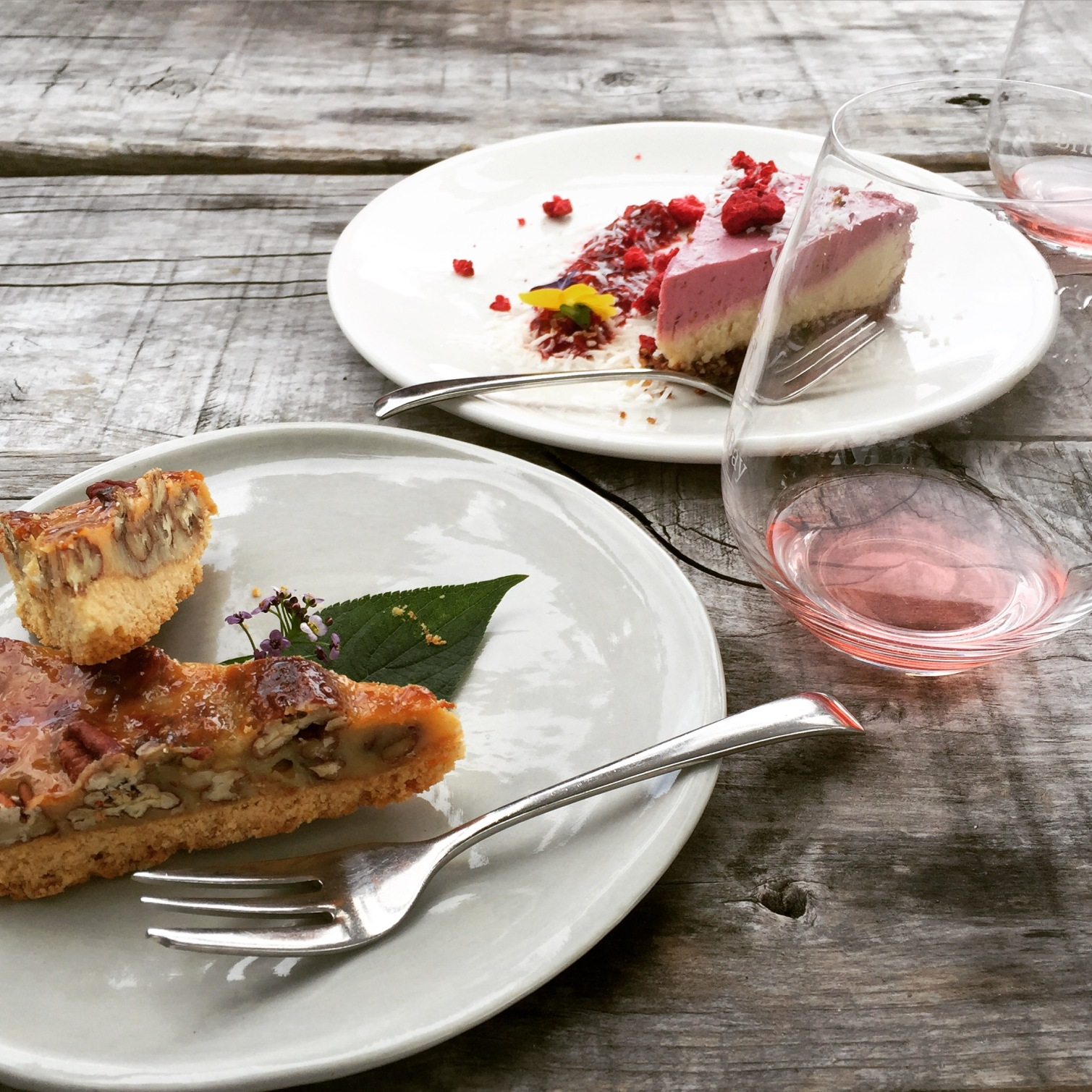 Salted caramel pecan slice or 'guilt free' raspberry, coconut & cashew cheese cake