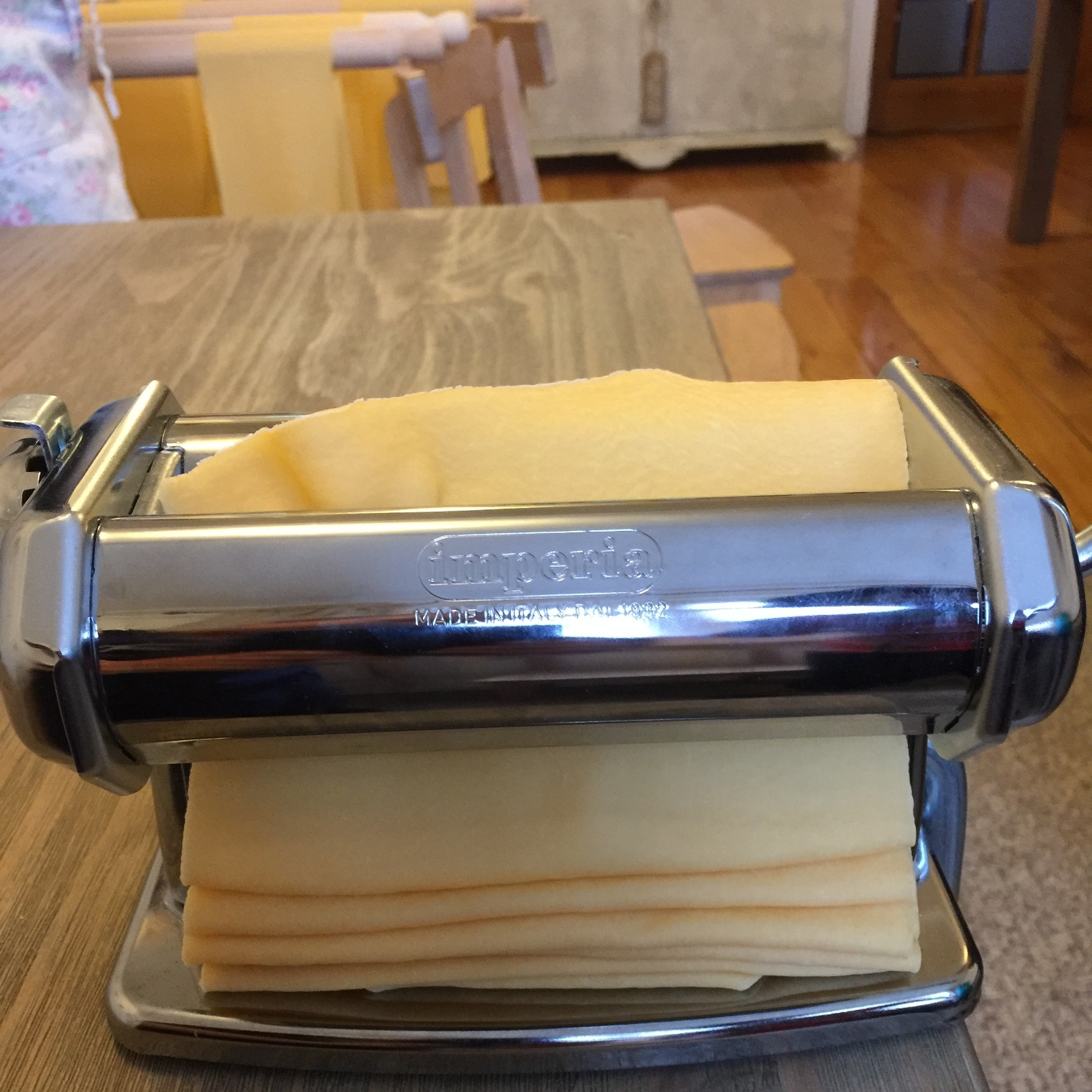 My dough going through the pasta machine