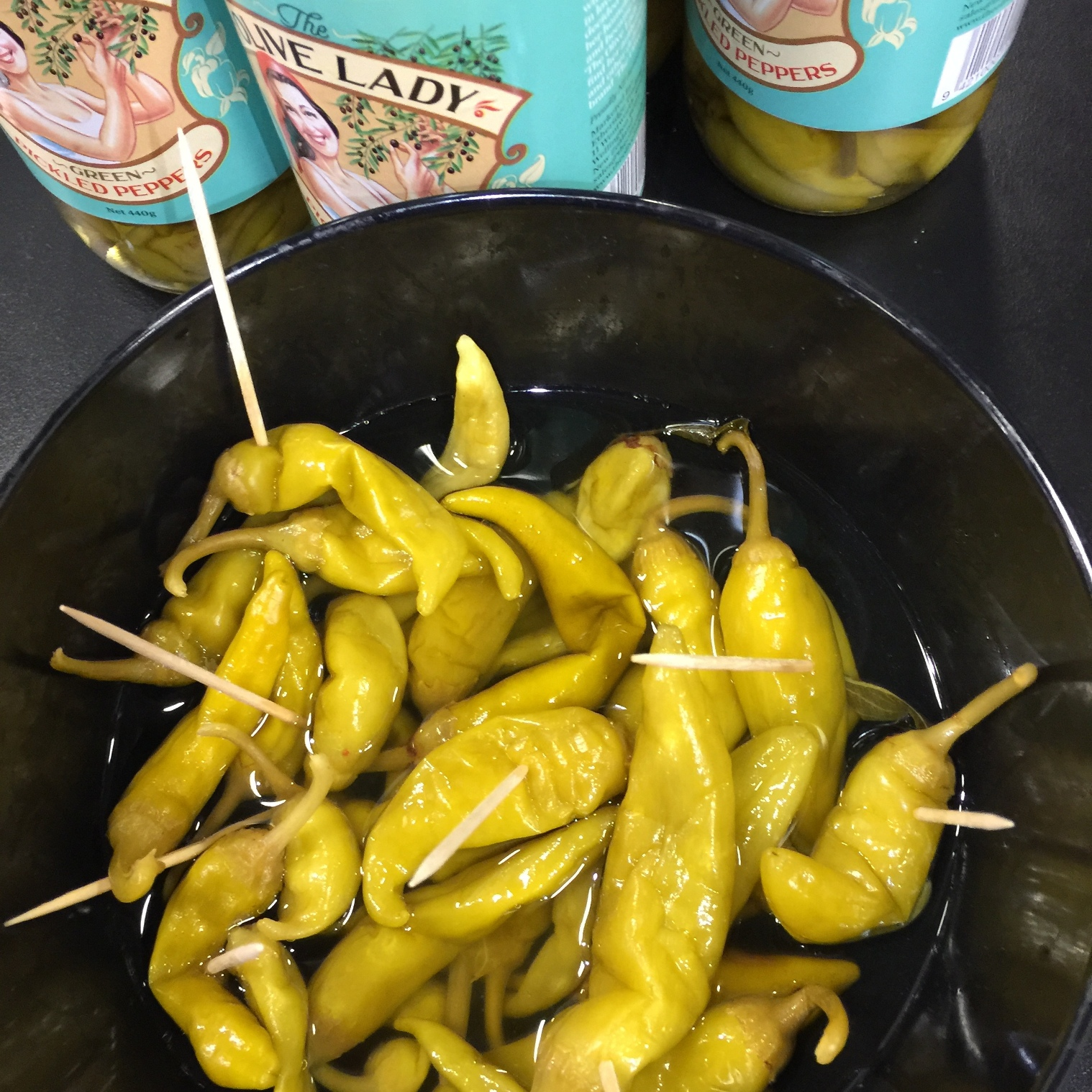 The Olive Lady 's green pickled peppers