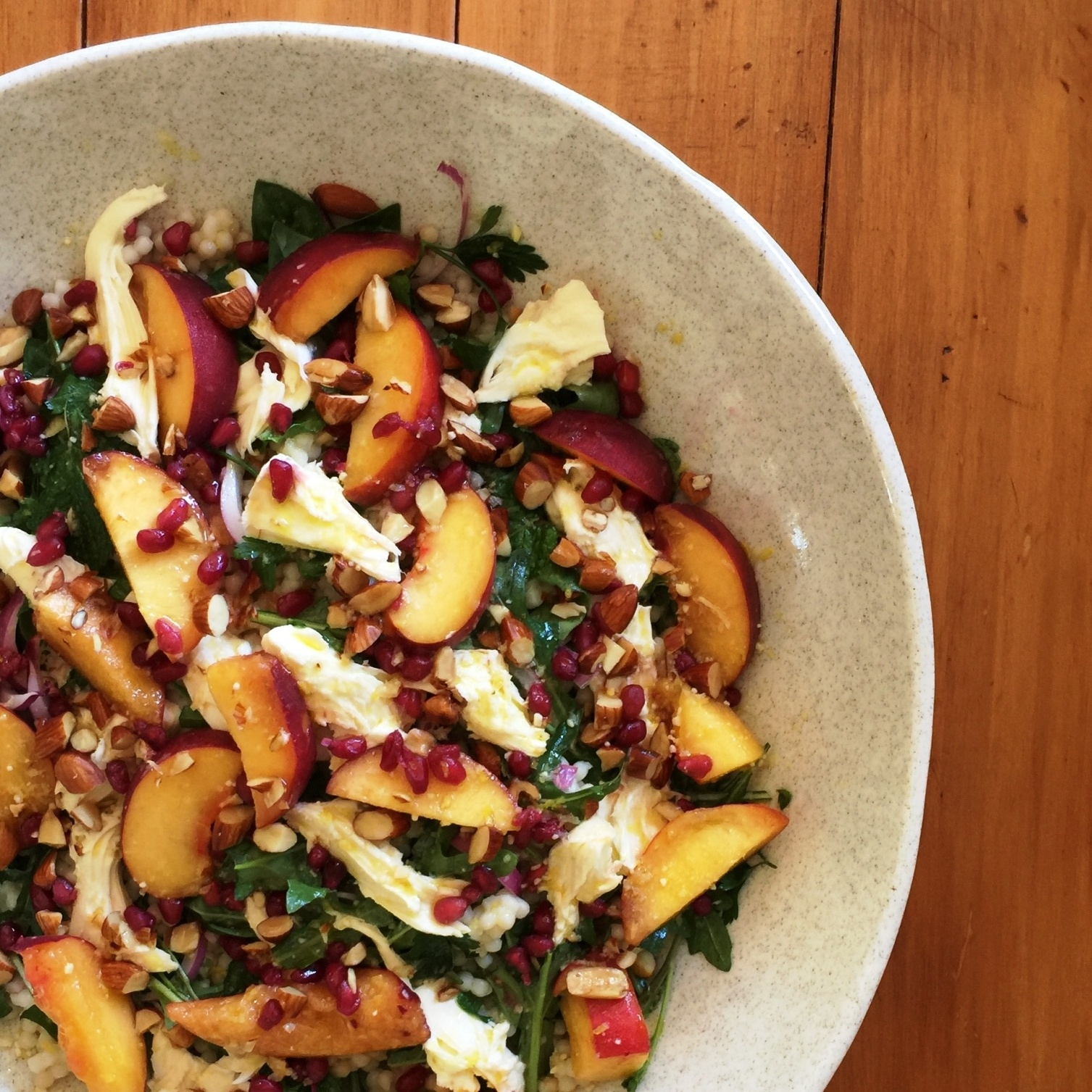 Peach mozzarella and Israeli couscous salad