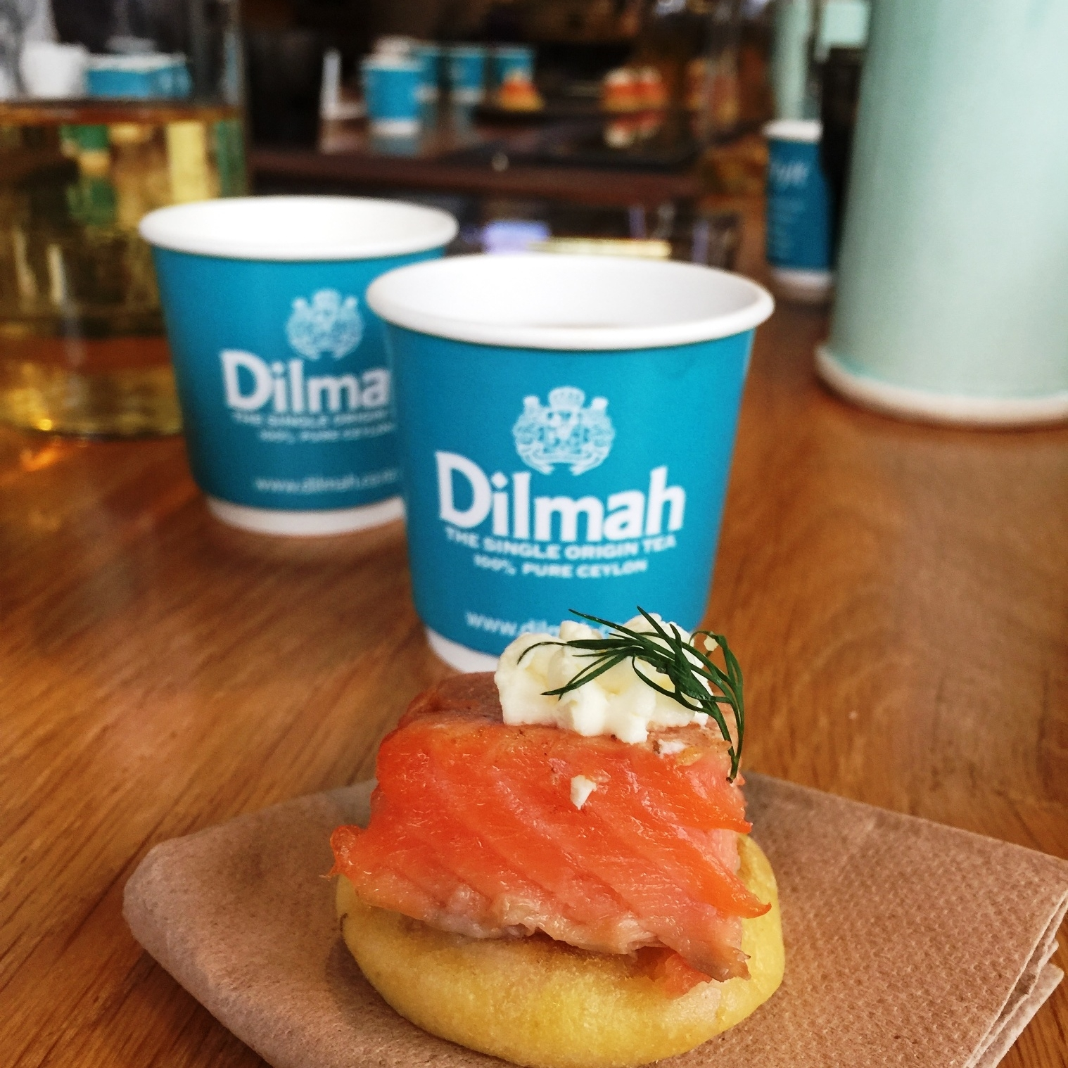 Earl grey tea cured salmon on blinis