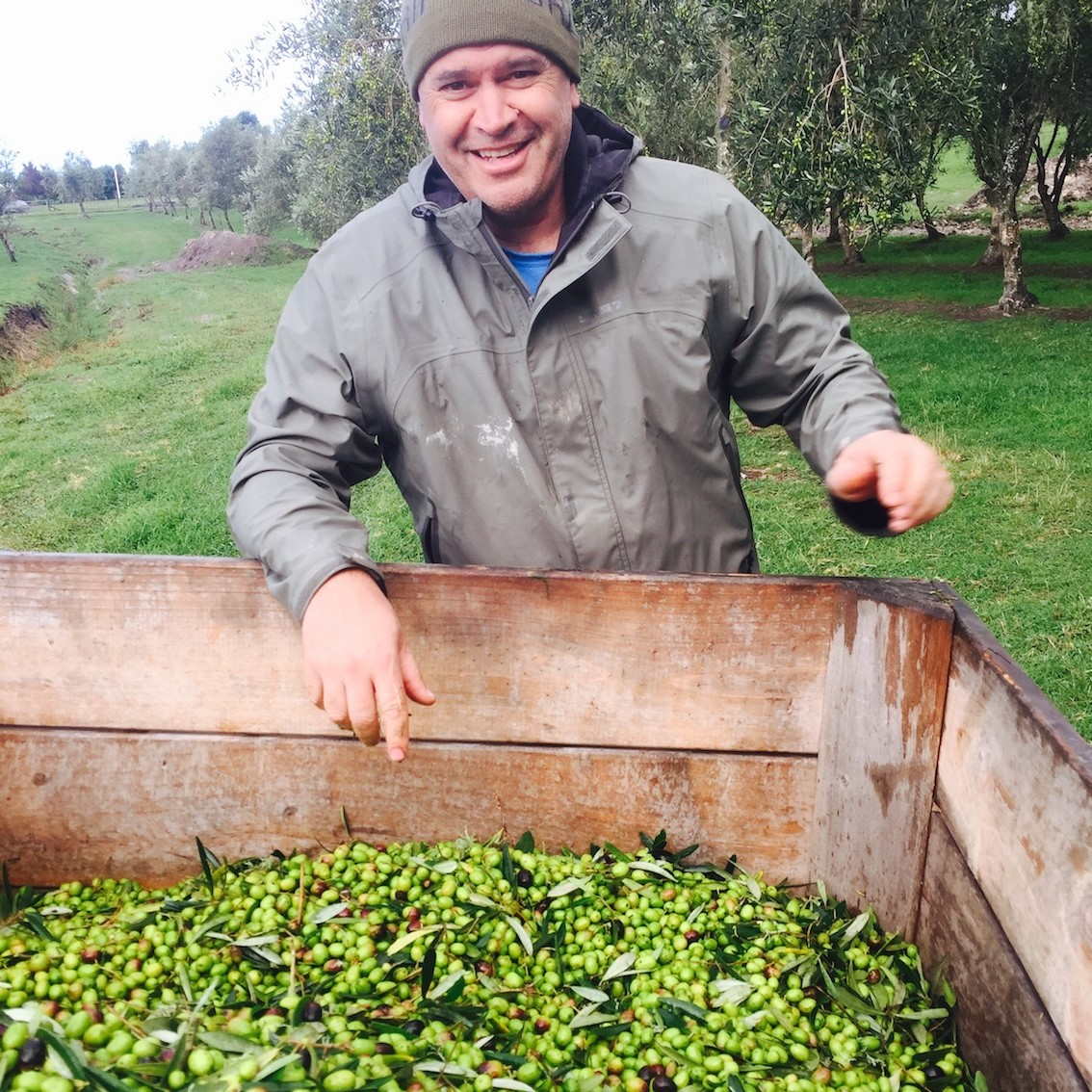 Graham looks pretty happy with the harvest