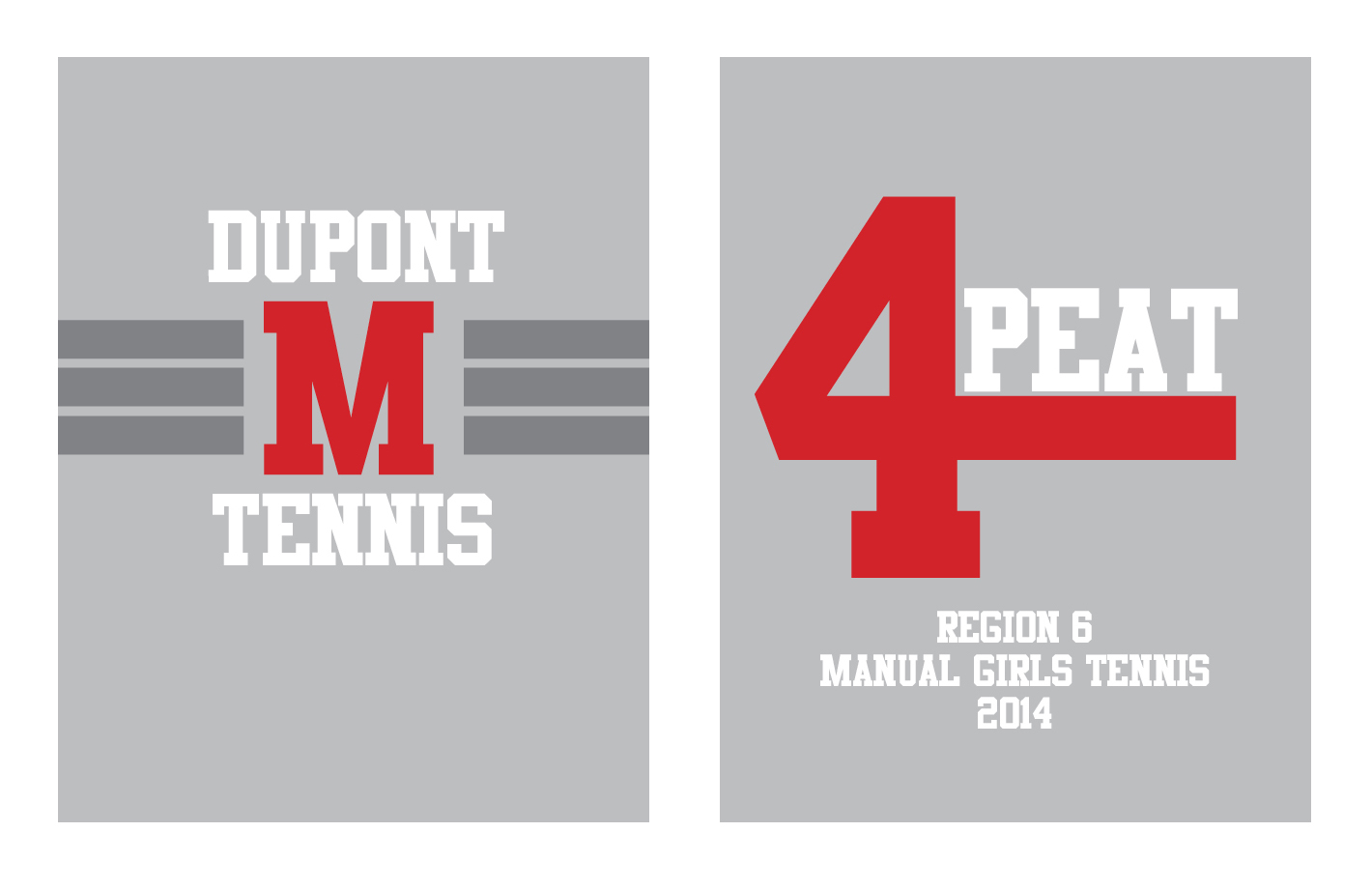 Tennis Team t-shirt   The front and back of a heather gray t-shirt I designed for the girl's tennis team