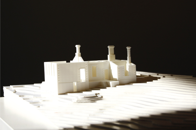 The site is modelled by hand, the structure is 3D printed