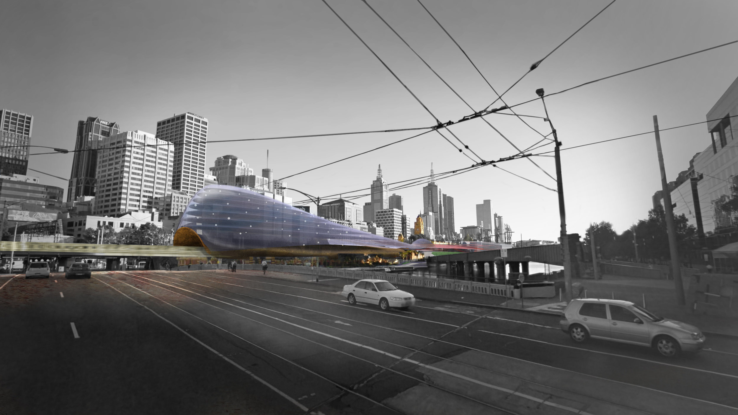 A competition entry for Flinders St Station in Melbourne allowed us to experiment with variations of a design path