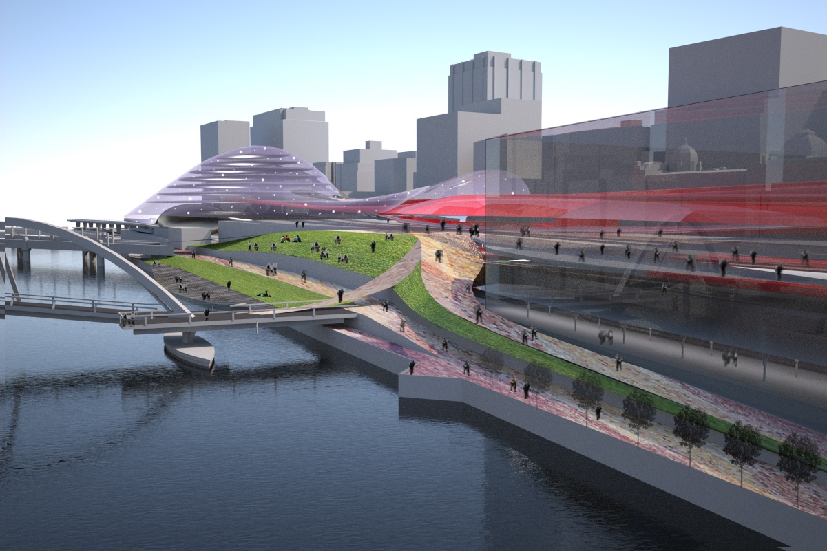 Redesigned layouts openup the train station to the riverfront