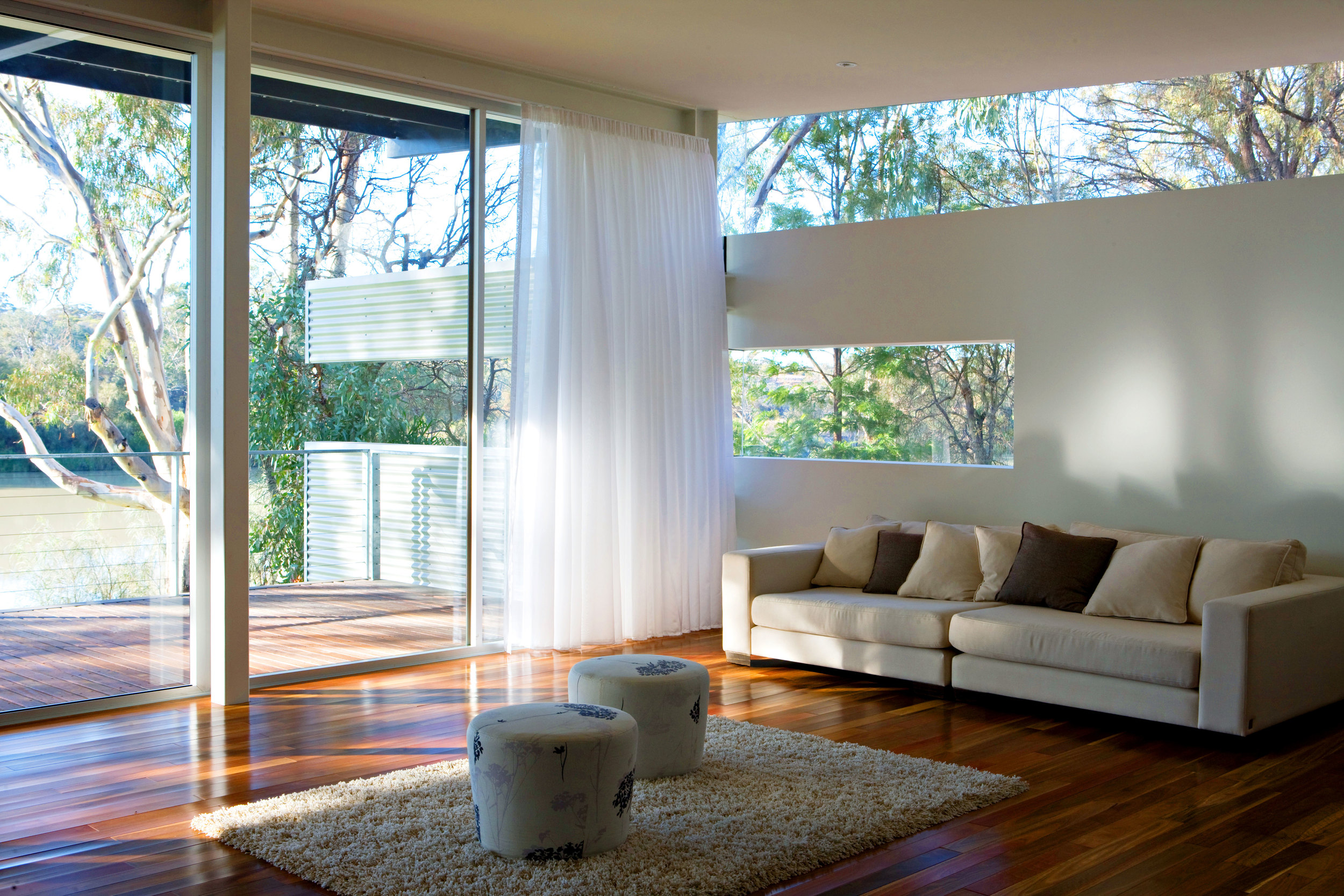 Living spaces provide a comfortable retreat from the sun