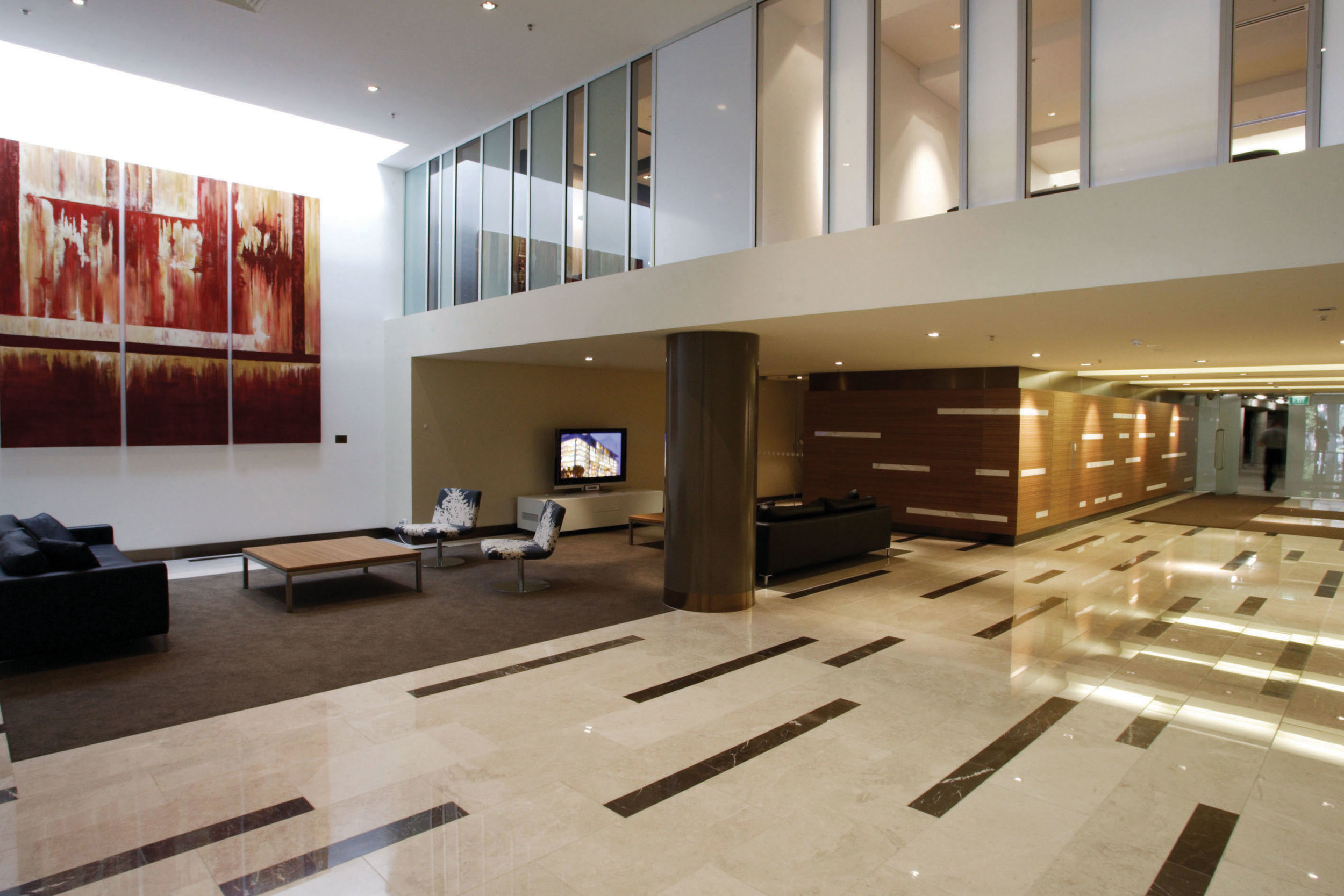 The lobby introduces residents to a sense of refined, relaxed and contemporary style