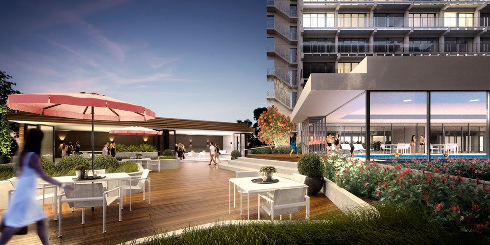 The existing brutalist style has been softened to cater towards a more lifestyle orientated brand, rear decking and a large pool add to the luxury (concept render)