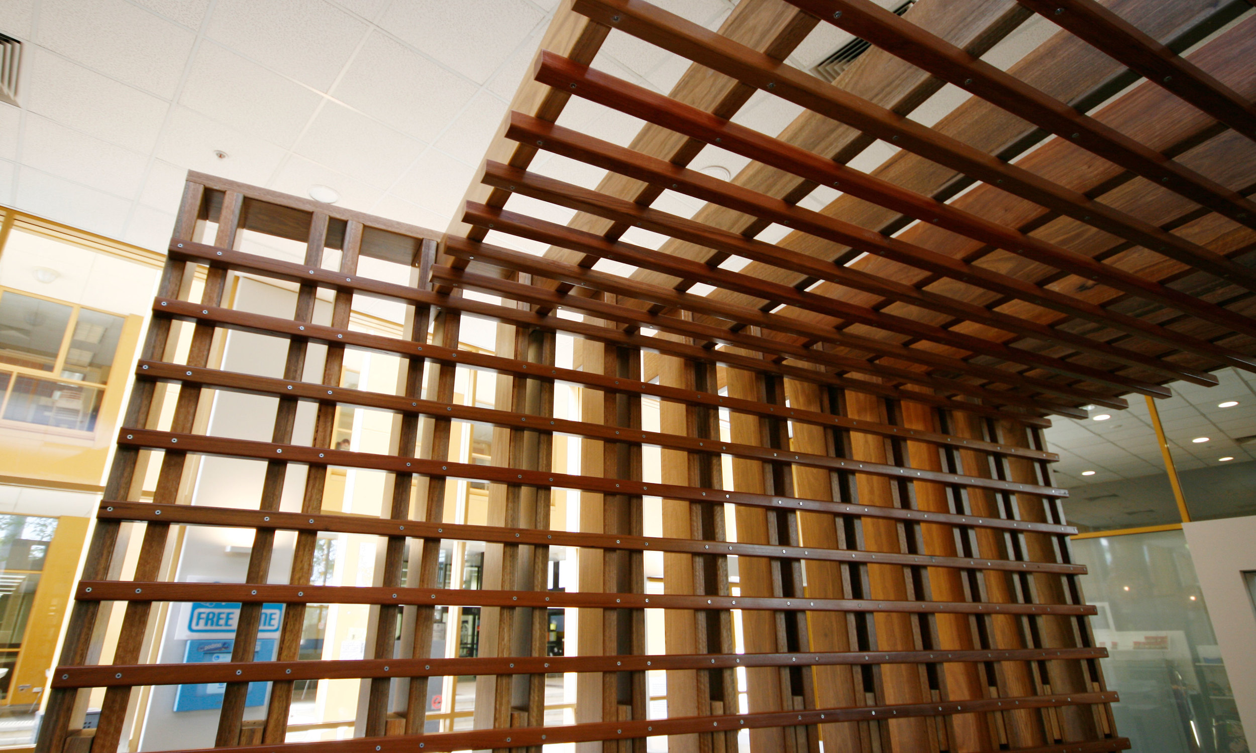 "Latticed timber creates a ""room within a room"""