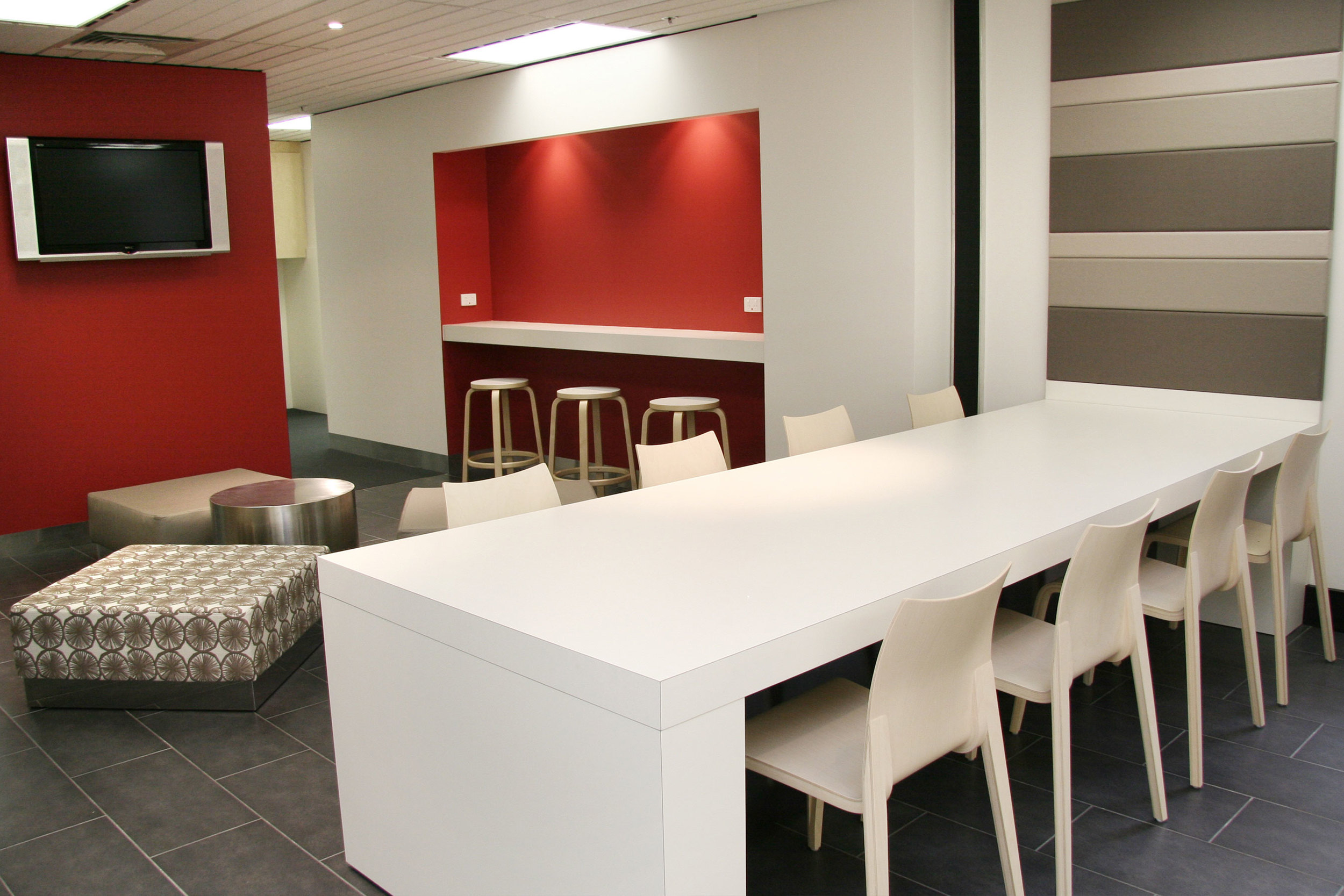 Colour is used as an effective way-finding system to differentiate floor-levels