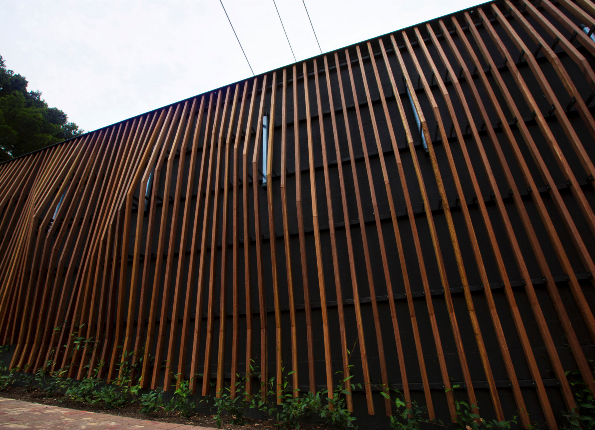 The articulated timber facade provided an aesthetically responsive and cost effective solution