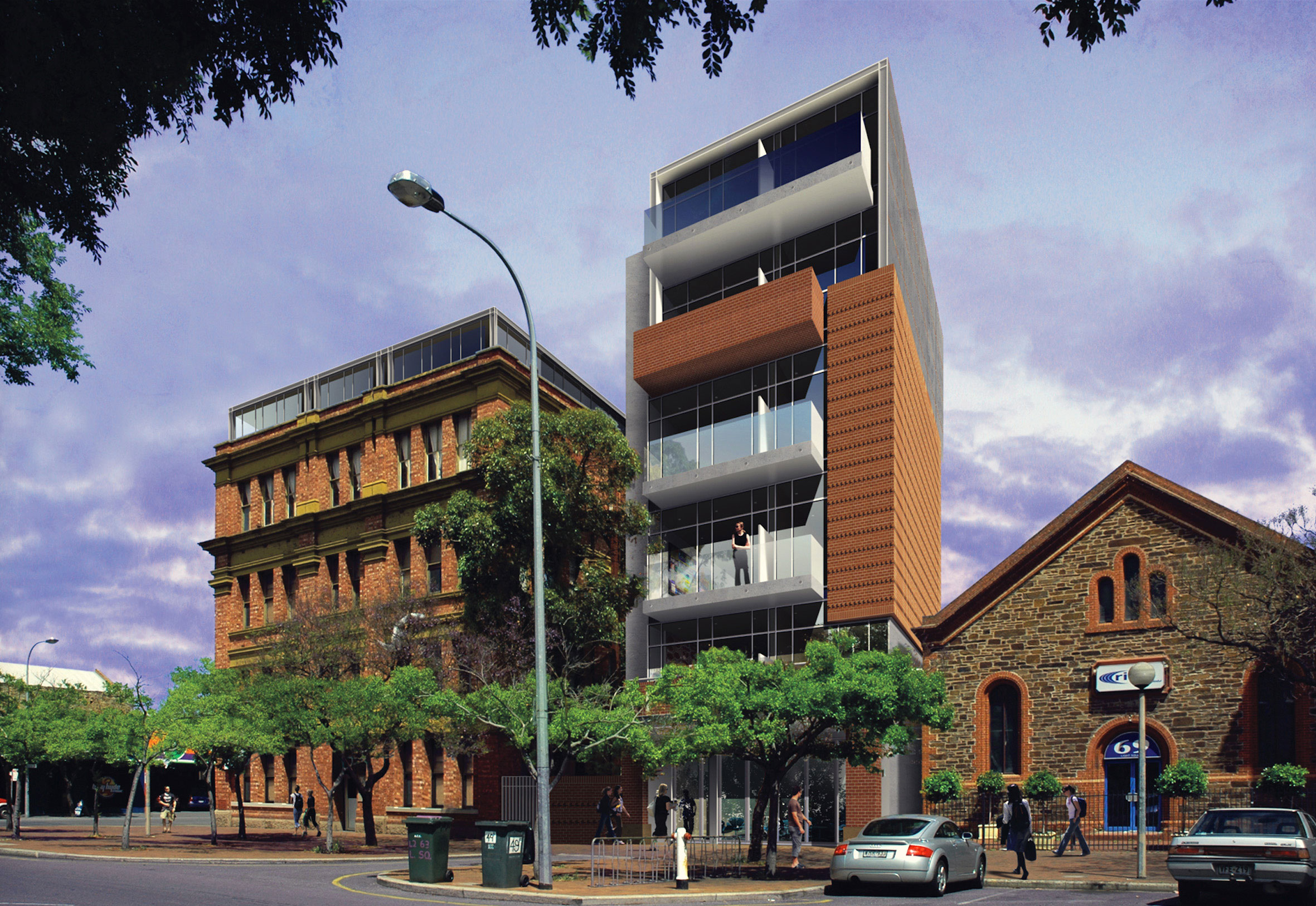 Common Ground Light Square: The red brick blends in with existing heritage structures