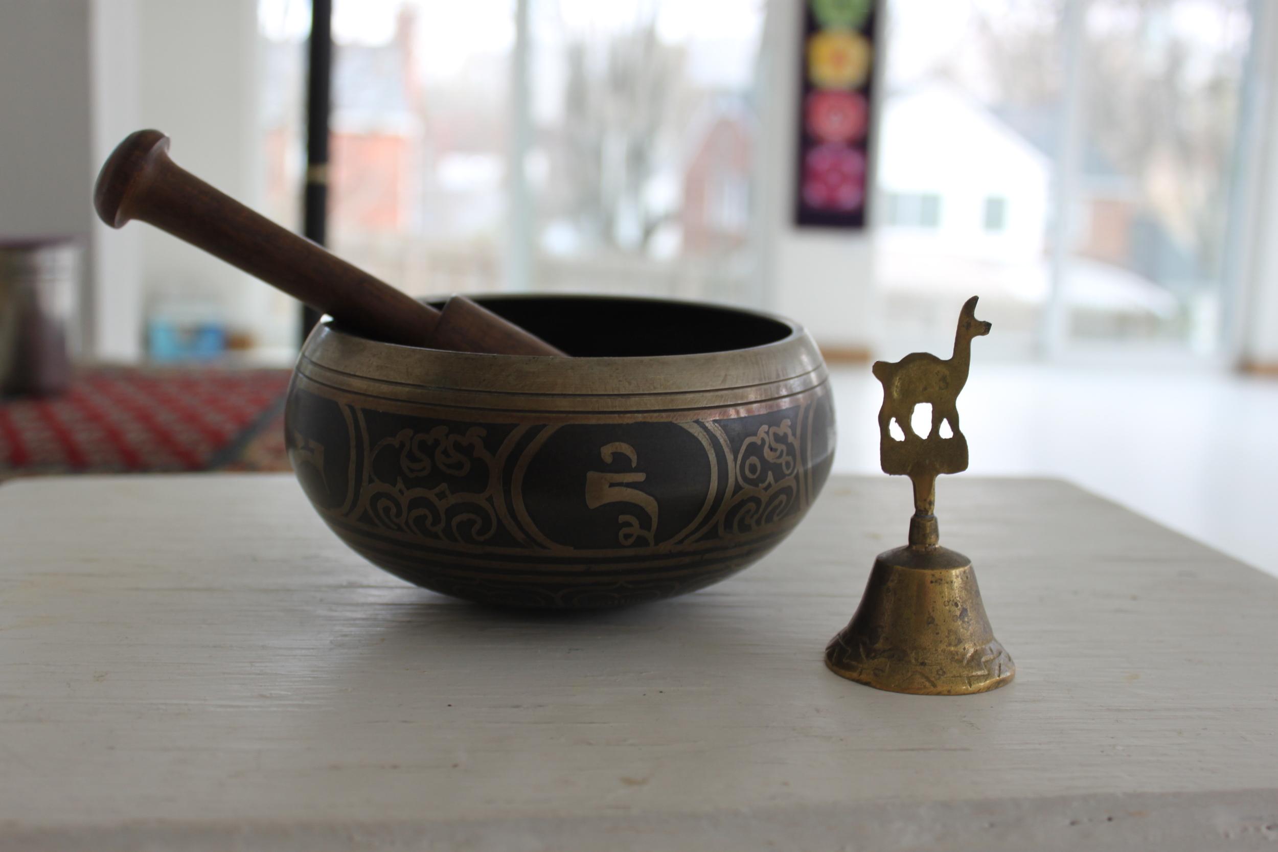 Tibetan chime bowl and Peruvian bell.JPG