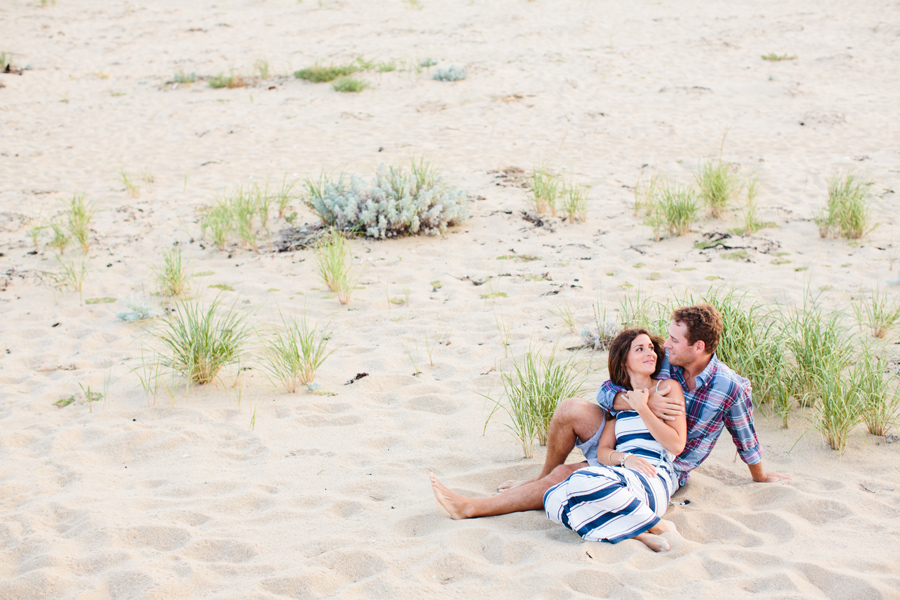 Jenny & Rob's amazing engagement session in p-town sitting down at the beach - photography