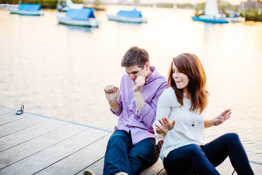 pretty couple on docks in boston engagement photography