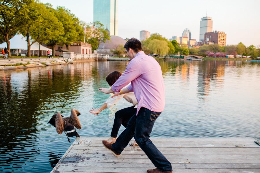 boston skyline esplanade engagement photography