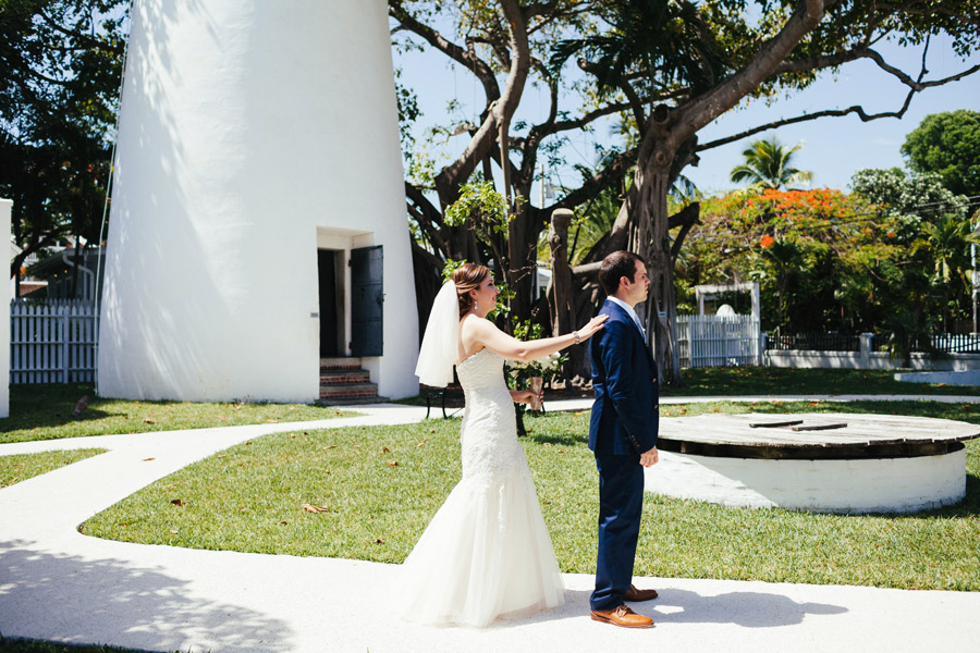 bride and groom first look at the lighthouse in key west florida wedding photographer destination weddings