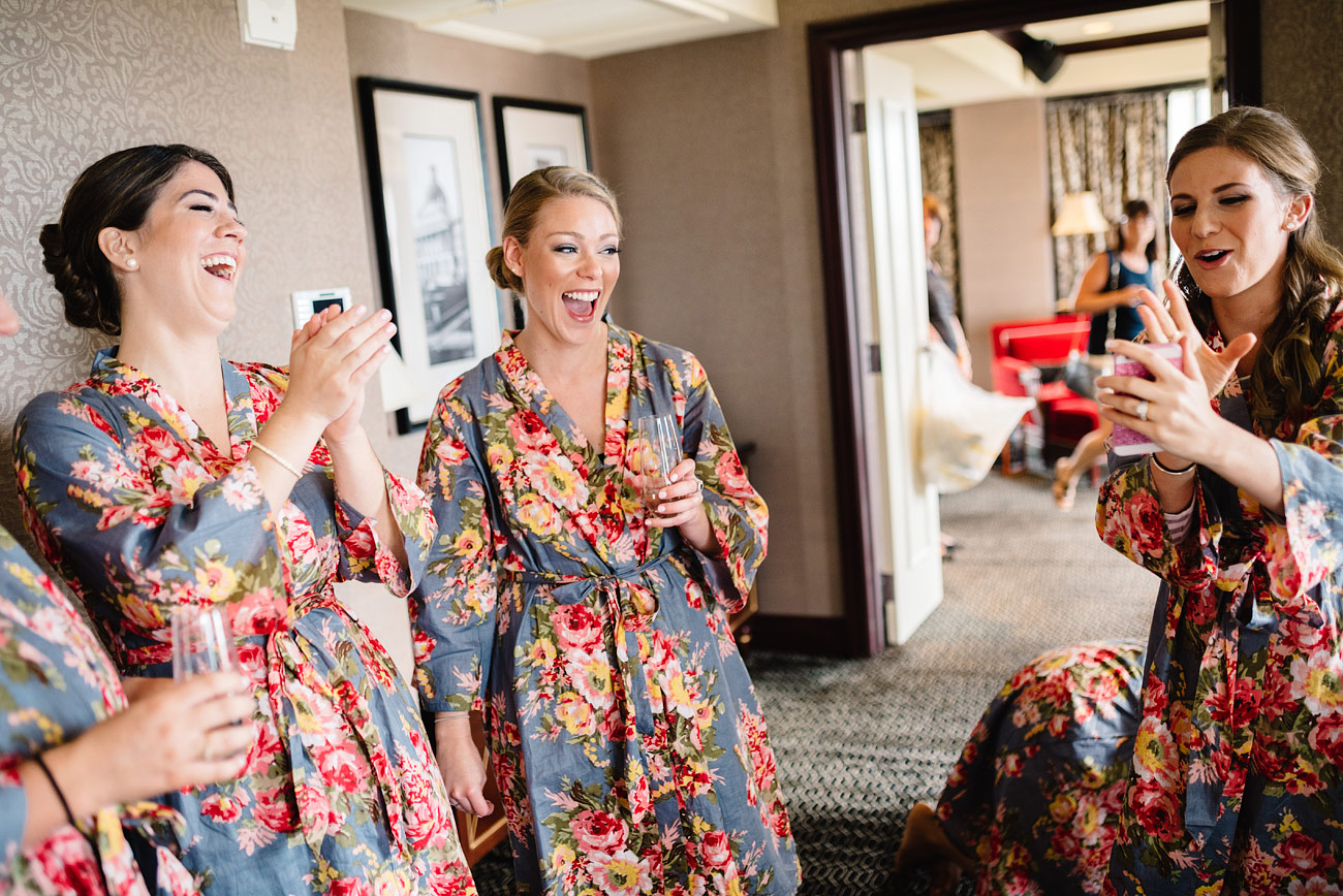 bridesmaids getting ready with robes at hotel marlowe in cambridge, ma
