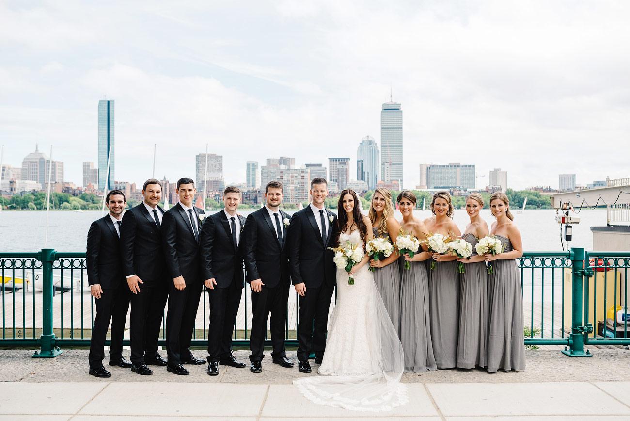 cambridge boston skyline wedding party photos