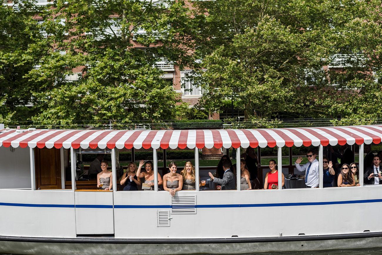 boston wedding party in cambridge hotel marlowe on a boat