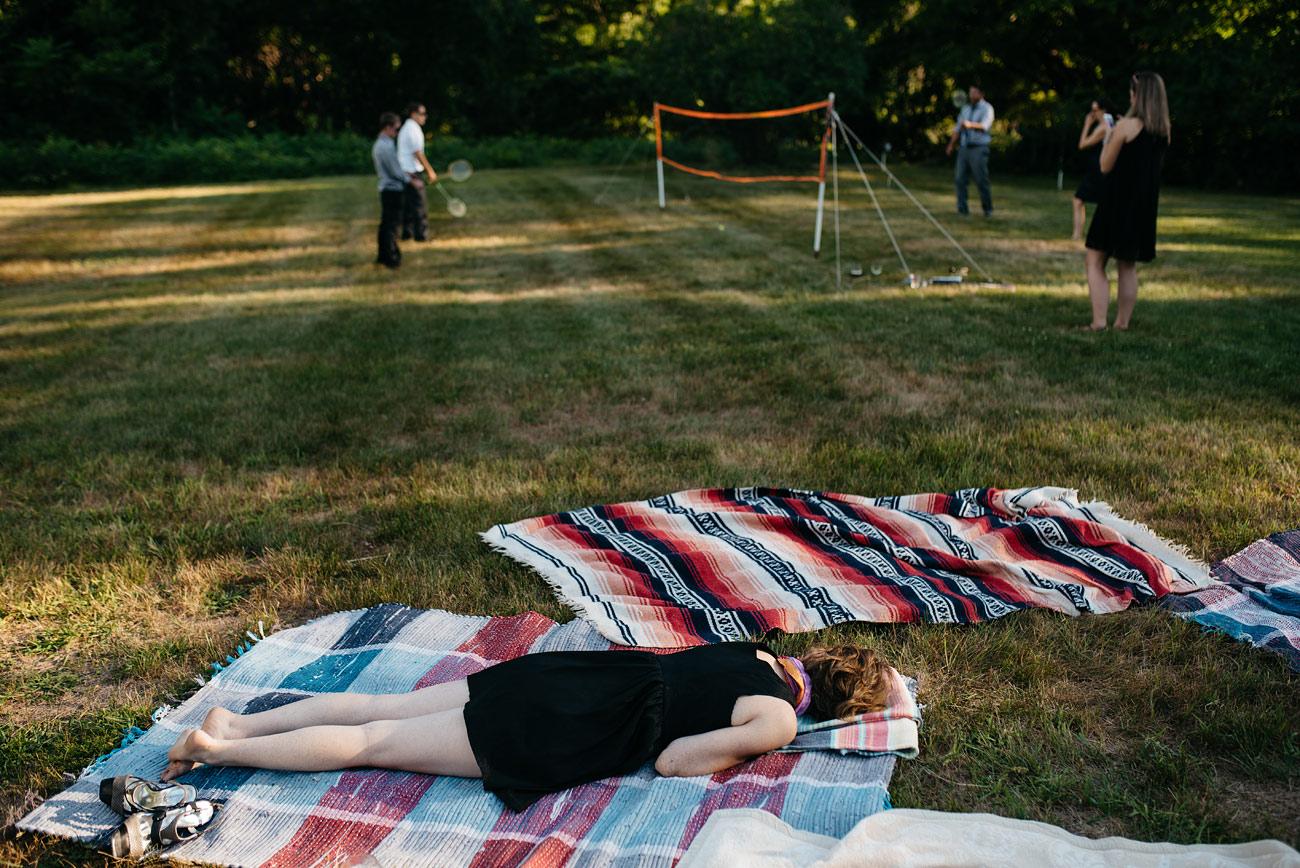 wedding nap time at a fun backyard diy wedding in massachusetts