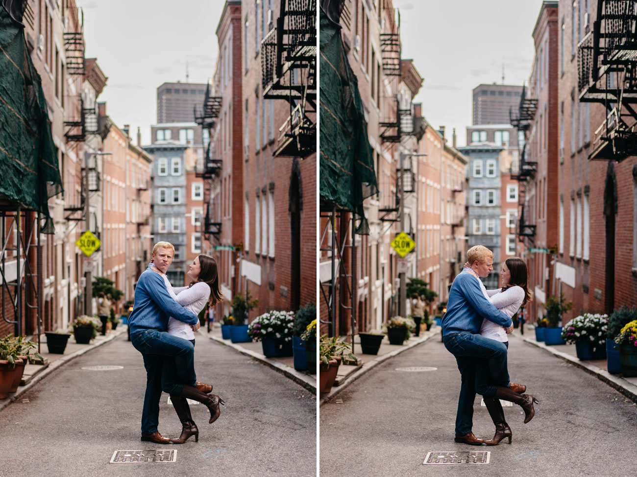 goofy and fun boston north end engagement session couple having fun