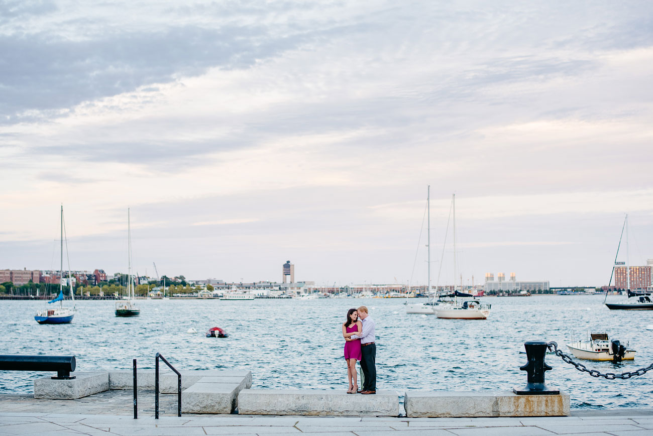 boston harbor views of the water during an engagement session