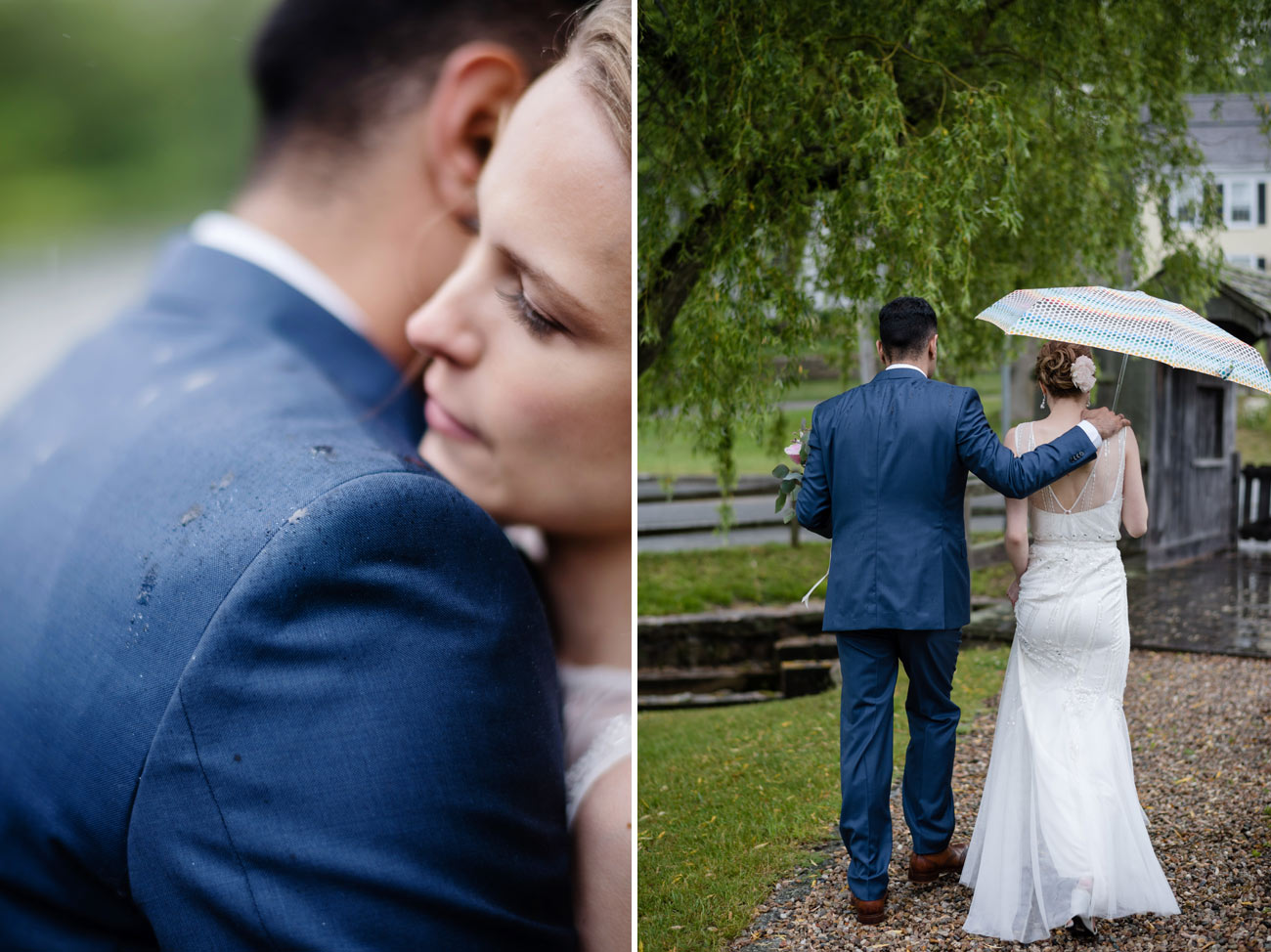 intimate rain wedding in cape cod sandwich area at the newcomb tavern bride and groom hugging