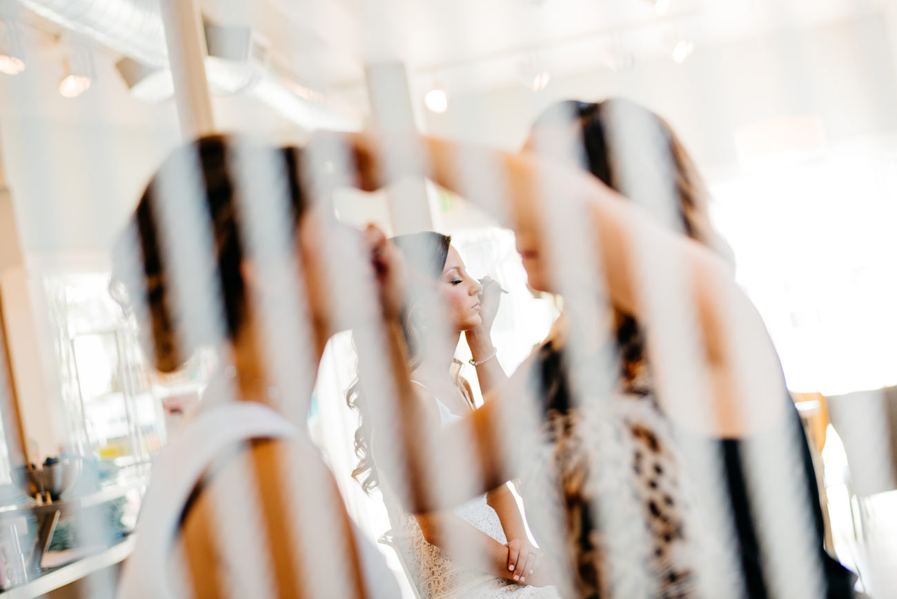 bride getting ready at the island house in bel mer newport wedding photography