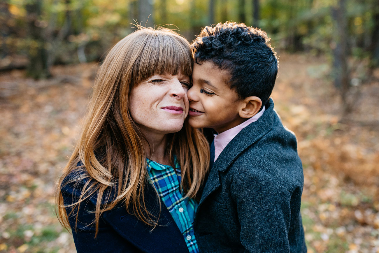 cute moment with mom and son at the blue hills reservation family photography