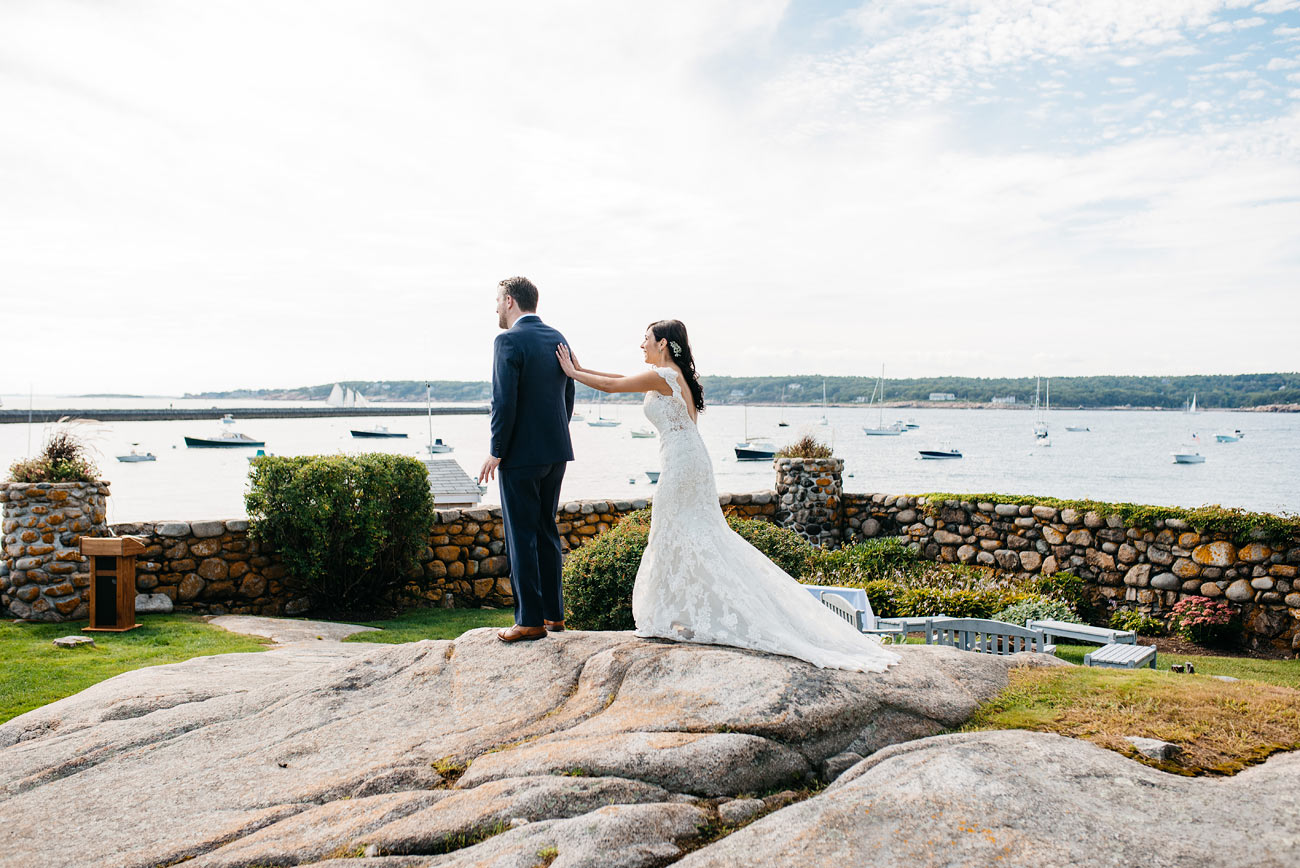 first look with the bride and groom at the eastern point yacht club in Gloucestor, MA