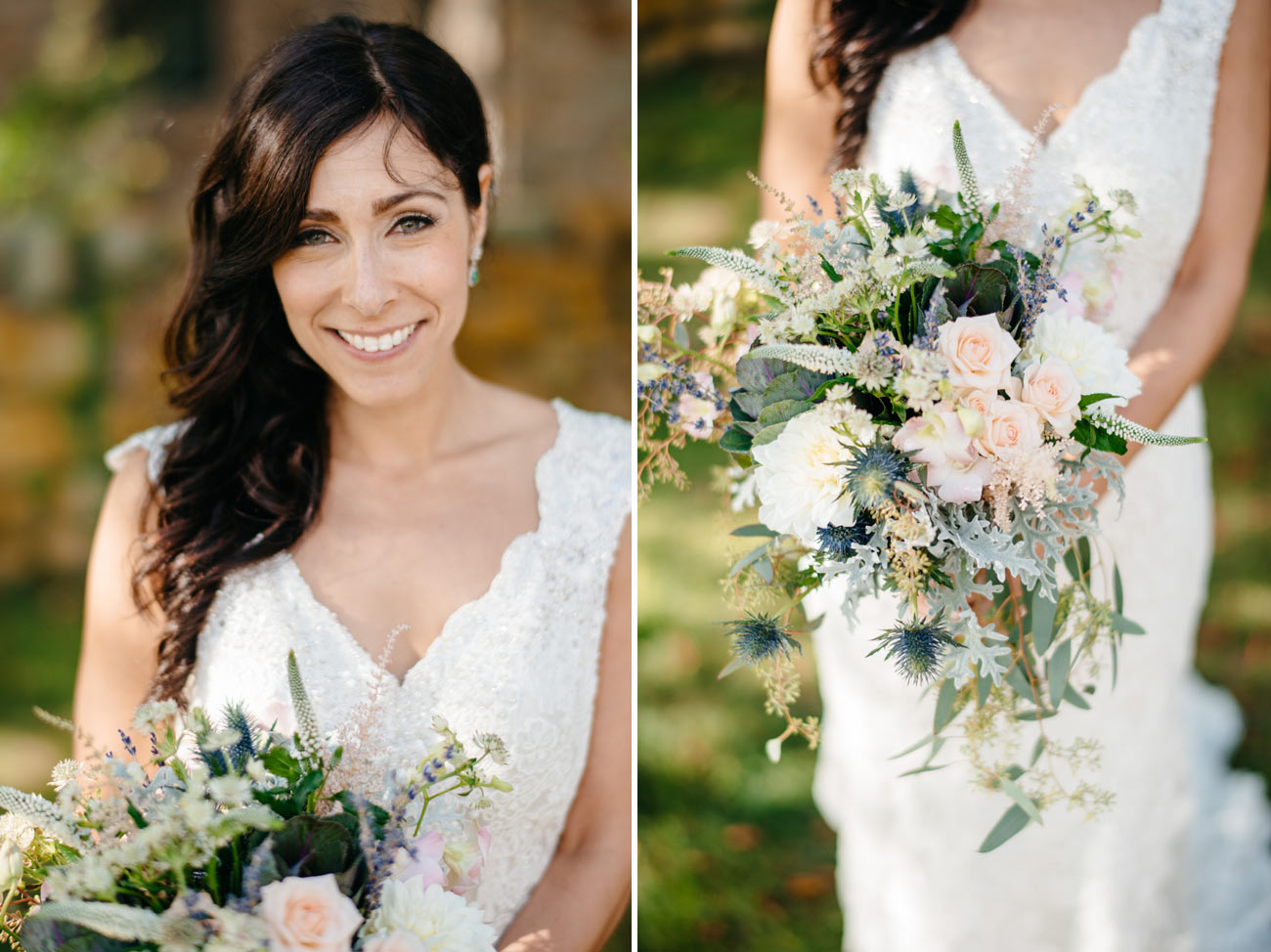 stunning bride with beautiful flowers by sage floral studio