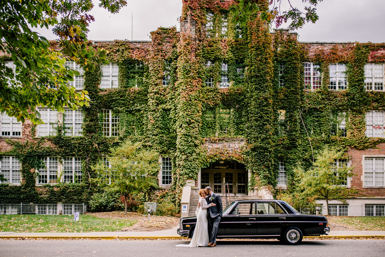 lifestyle wedding couple with vintage mercedes car at aquinas colleg