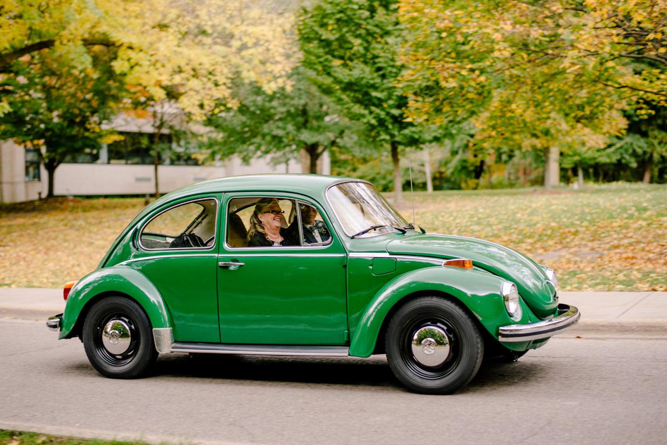 vintage vw green bug at a wedding