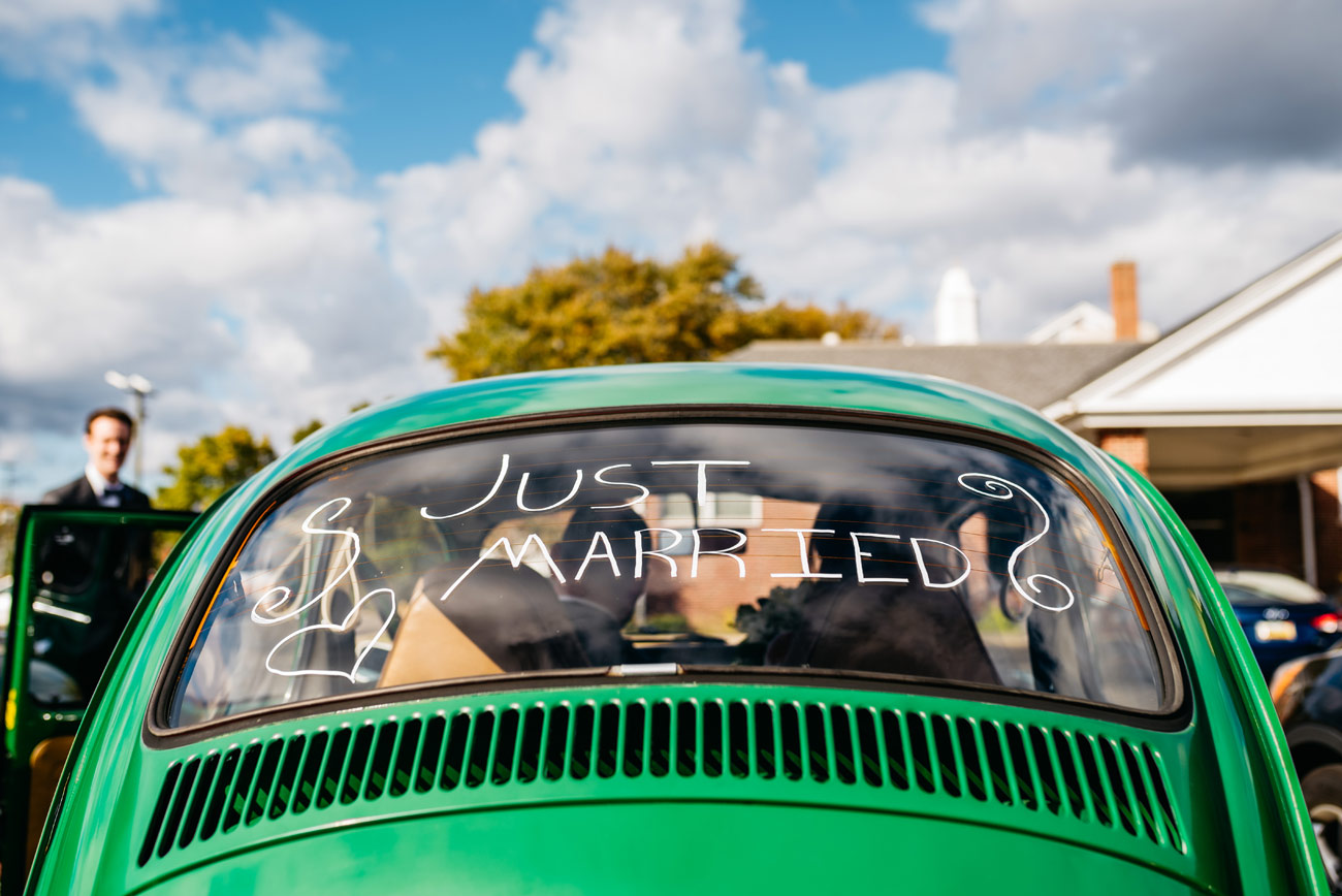 vw beetle with just married in grand rapid michigan