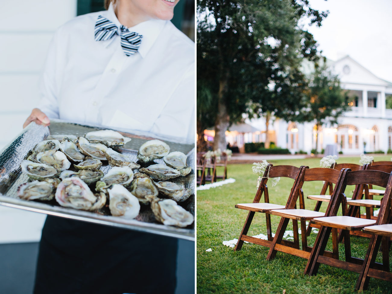 oysters at the wedding cocktail hour in charleston sc classic and modern weddings at lowndes grove
