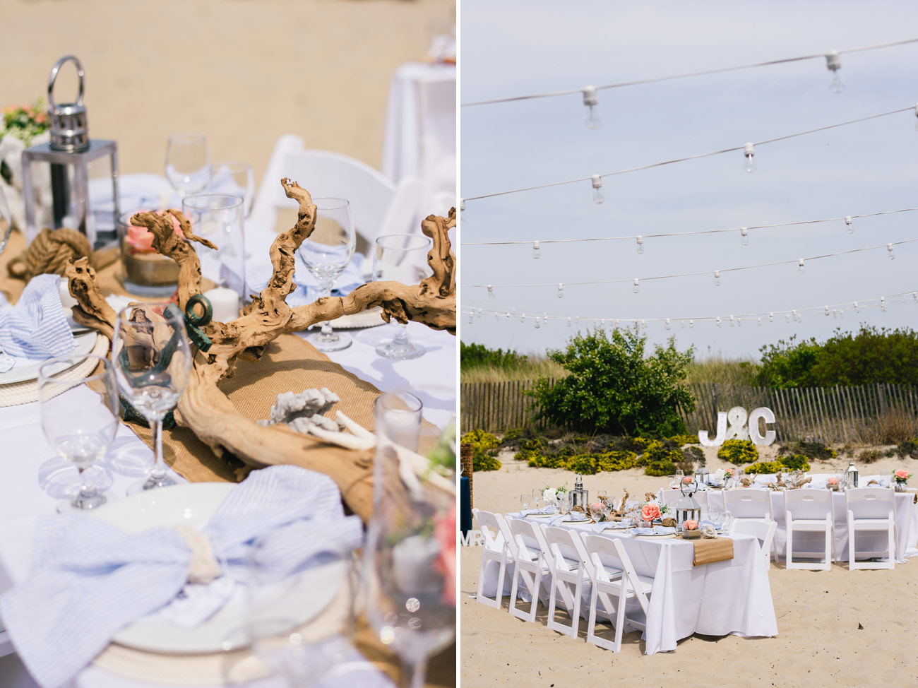 cute beach details of table spread with nautical napkins and sea life