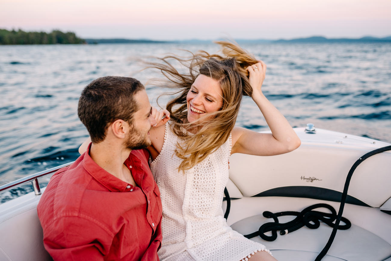 boat engagement photography in wolfeboro nh
