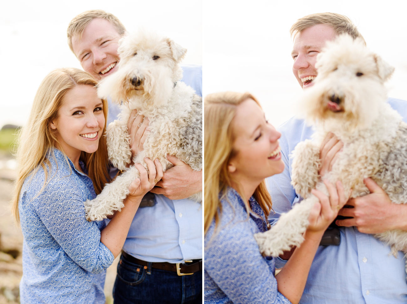 new england living beautiful couple with dog in essex, ma photography