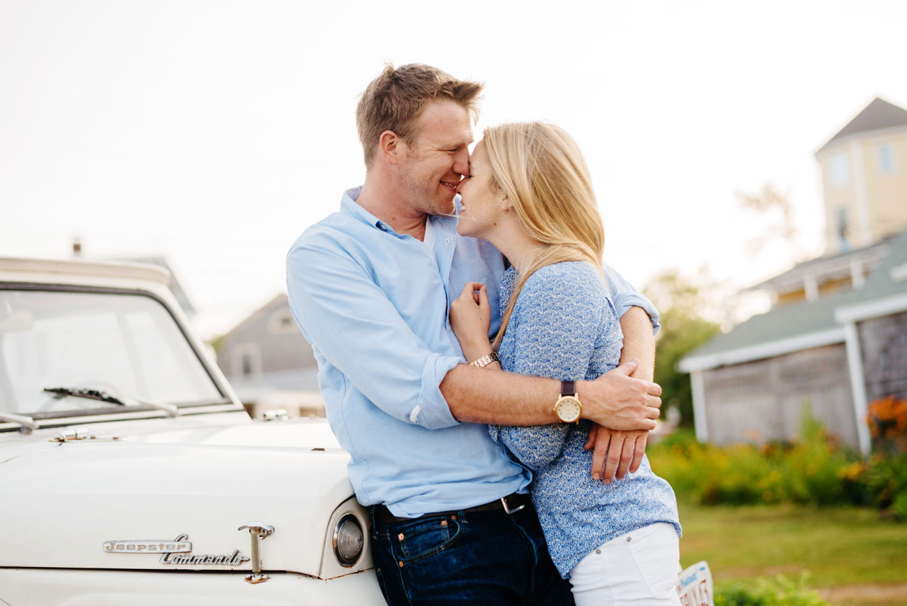 rockport and crane estate engagement photography essex , ma next to a classic jeep
