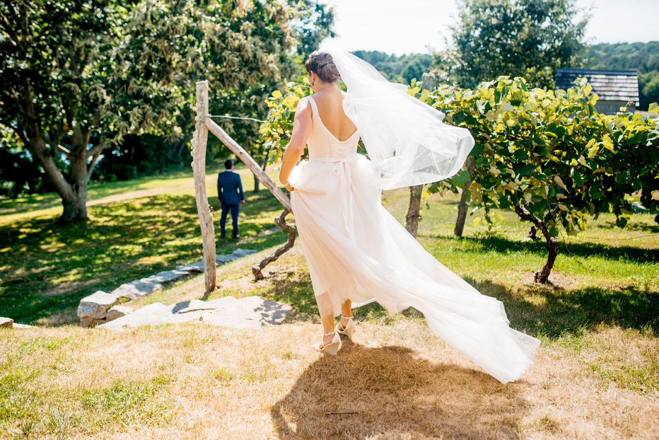 bride at bourne farm doing the first look with groom in the vineyard, cape cod weddings