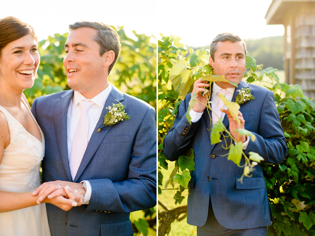 bride and groom creative portraits in the vineyard at bourne farm, cape cod mass rustic vineyard wedding photos