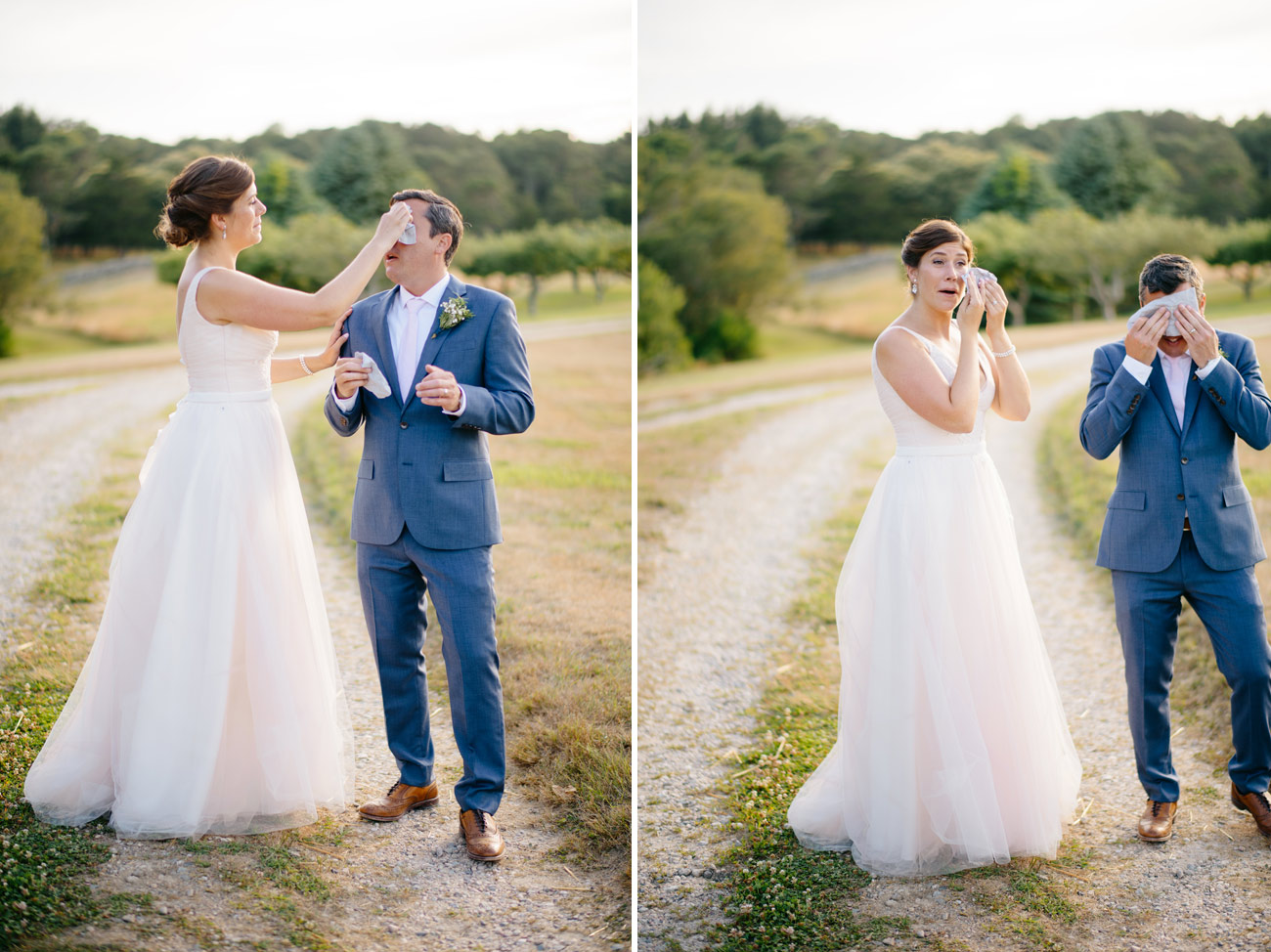 couple wiping sweat on a hot summer wedding day in cape cod at bourne farm in falmouth