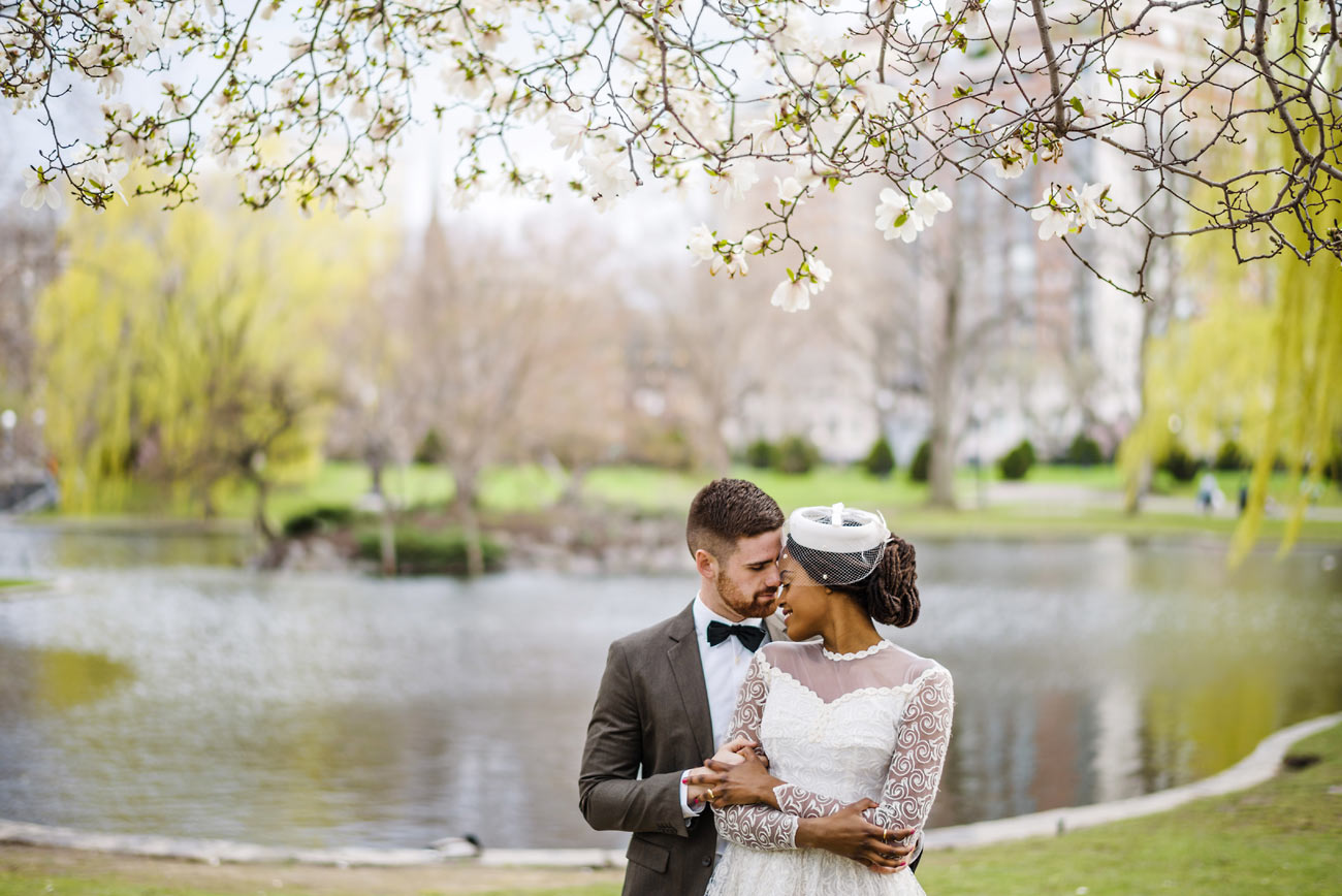 lifestyle wedding portraits at the public gardens with japanese cherry blossoms boston spring weddings