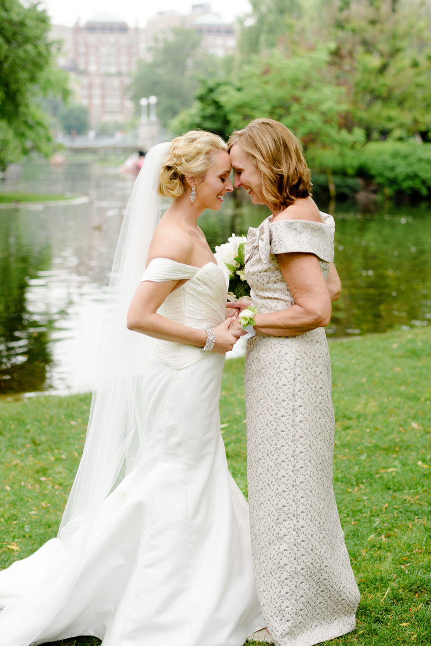 stunning bride and mom moment in boston at the public gardens
